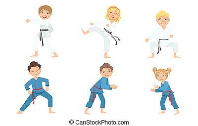 illustratie, kinderen, karate, jongen, kunsten, krijgshaftig, schattig, meiden, kimono, witte , judo, beoefenen, blauwe , vector