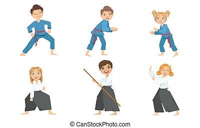 illustratie, kinderen, uniform, jongen, kunsten, krijgshaftig, schattig, meiden, beoefenen, aikido, judo, vector
