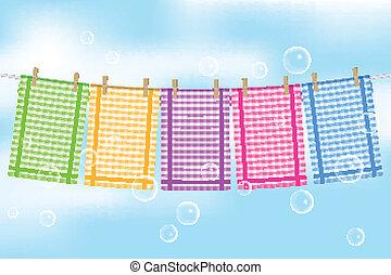 illustratie, kleurrijke, handdoeken
