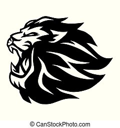 illustratie, leeuw, vector, ontwerp, logo, gebrul, mascotte
