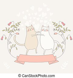 illustratie, liefde, twee, cats.