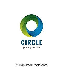 illustratie, logo, mal, vector, cirkel, ontwerp, helling