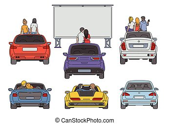 illustratie, lucht, open, bioscoop, vector, vrijstaand, ...