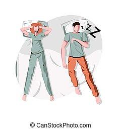 illustratie, man, snurken