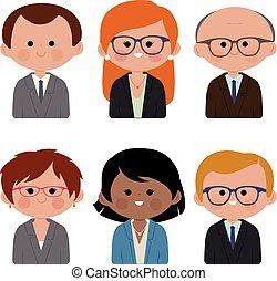 illustratie, mannen, vector, women., zakelijk
