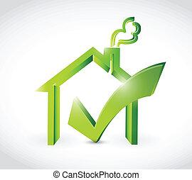 illustratie, mark, ontwerp, thuis, goedkeuren, controleren