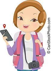 illustratie, meisje, toerist, telefoon