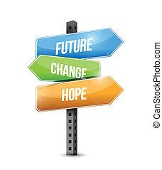 illustratie, meldingsbord, ontwerp, veranderen, toekomst,...