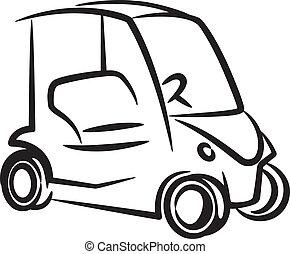 illustratie, met, een, golf-auto