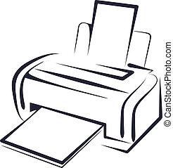 illustratie, met, een, printer