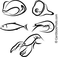illustratie, met, een, set, van, rauw voedsel