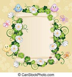 illustratie, met, mooi, bloemen