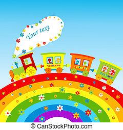illustratie, met, spotprent, trein, regenboog, en, plek,...