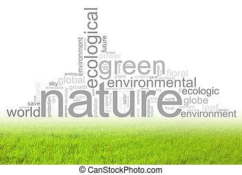 illustratie, met, termijnen, zoals, natur, of, milieu