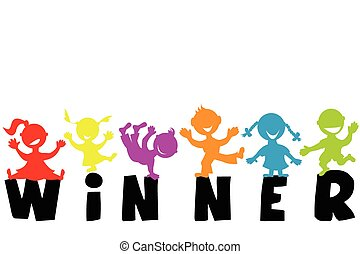 illustratie, met, woord, winnaar, en, vrolijke , kinderen, silhouettes
