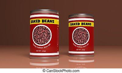 illustratie, metalen, bonen, cans., bakt, 3d