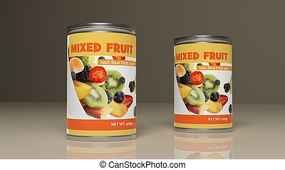 illustratie, metalen, gemengde vrucht, cans., 3d