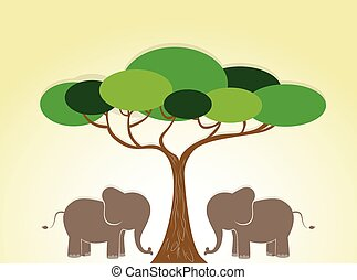 illustratie, olifanten, wild