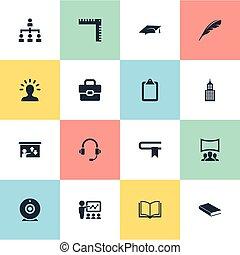 illustratie, opleiding, set, cursus, eenvoudig, document., icons., bevordering pet, synonyms, vector, informatie, gids, communie, anderen, lezing