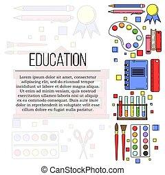 illustratie, opleiding, web, concept., ontwerp, school, kaart