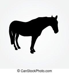 illustratie, paarde, vector, -