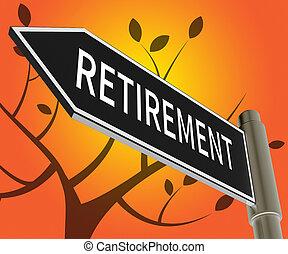 illustratie, pensioen, middelen, bejaarden, meldingsbord, pensioen, 3d