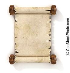 illustratie, perkament, boekrol, 3d