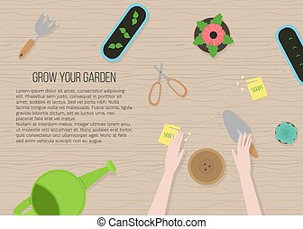 illustratie, plat, tuin, handen, bovenzijde, spotprent, ...