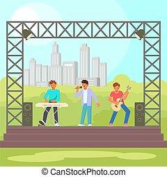 illustratie, plat, vector, concert, open lucht