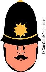 illustratie, politieagent, brits, achtergrond., vector, witte
