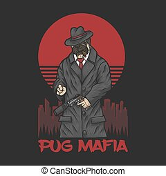 illustratie, pug, vector, maffia