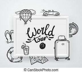 illustratie, reis, vector, concept., wereld
