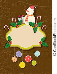 illustratie, retro, sym, kerstmis