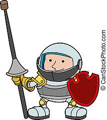 illustratie, ridder, jonge