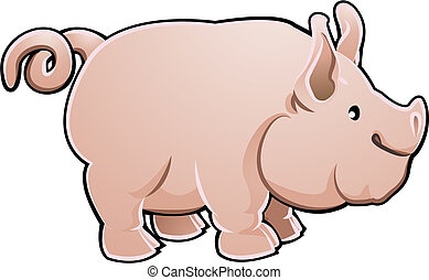 illustratie, schattig, vector, boerderij, varken, dier