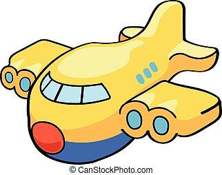 illustratie, schattig, vliegtuig., vector, spotprent