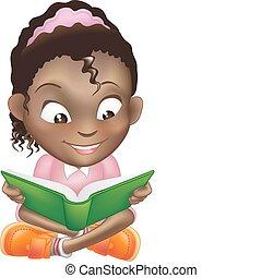 illustratie, schattig, zwart meisje, het boek van de lezing