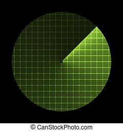 illustratie, scherm, radar, vector, sonar, icon.