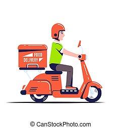 illustratie, scooter, aflevering, stijl, plat, kerel
