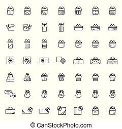 illustratie, set, pictogram, stijl, vector, kado, lijn, mager