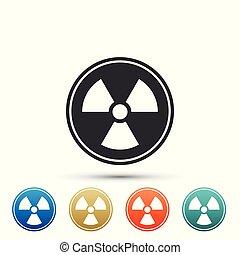 illustratie, set, radioactieve kleur, teken., straling, vrijstaand, gevaar, symbool., achtergrond., vector, icons., vergiftig, witte , communie, pictogram