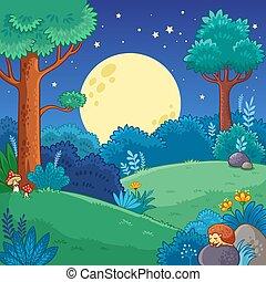 illustratie, style., vector, bomen, maan, spotprent