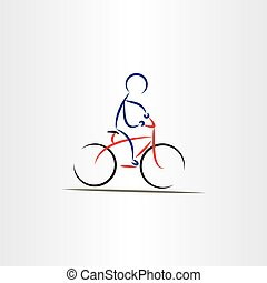illustratie, stylized, fietser, vector, man, pictogram