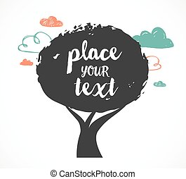 illustratie, tekst, boompje, vector, plek, achtergrond