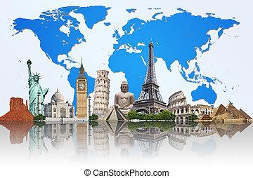 illustratie, van, beroemd, monument, van, de wereld