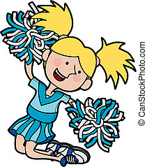 illustratie, van, cheerleader