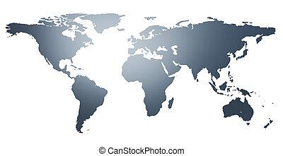 illustratie, van, de wereld, map., landen, vrijstaand, op...