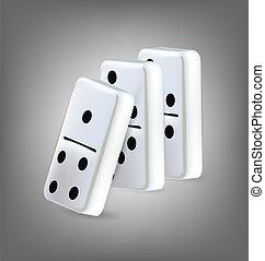 illustratie, van, drie, domino, blokjes