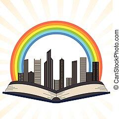 illustratie, van, een, boek, met, een, regenboog, op, stad