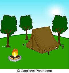 illustratie, van, een, camping